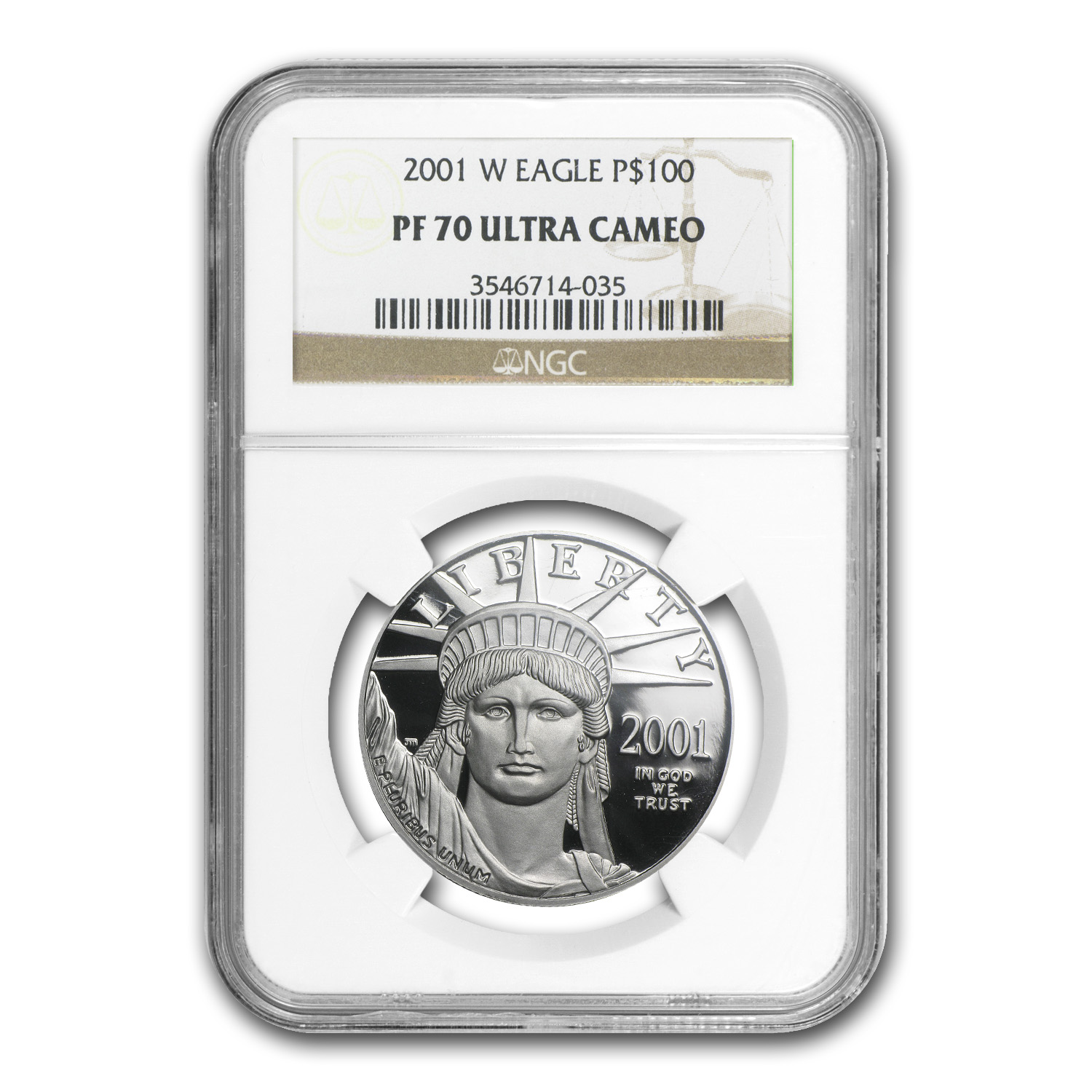 2001-W 4-Coin Platinum American Eagle PF-70 NGC UCAM Registry Set